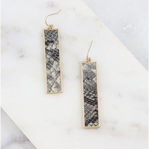 Rectangle Bar Animal Print Earrings